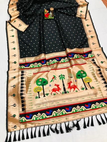 Super Soft Kanjivaram lichi silk Saree in black