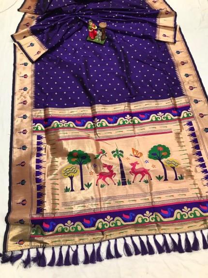 Super Soft Kanjivaram lichi silk Saree in Blue