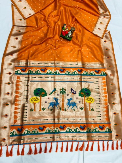 Super Soft Kanjivaram lichi silk Saree in orange