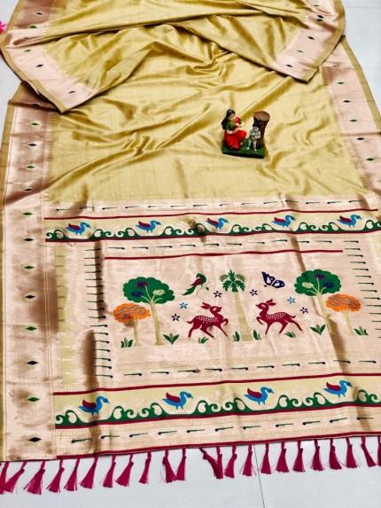 Super Soft Kanjivaram lichi silk Saree in Yellow