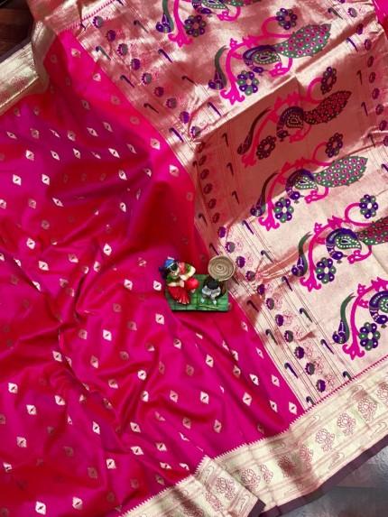 Super Soft Paithani Lichi Silk with Water Gold Zari Weaving Full Butti - gnp0108831