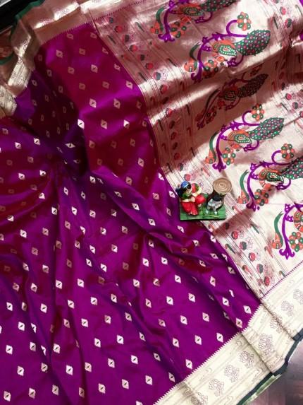 Super Soft Paithani Lichi Silk with Water Gold Zari Weaving Full Butti - gnp0108833