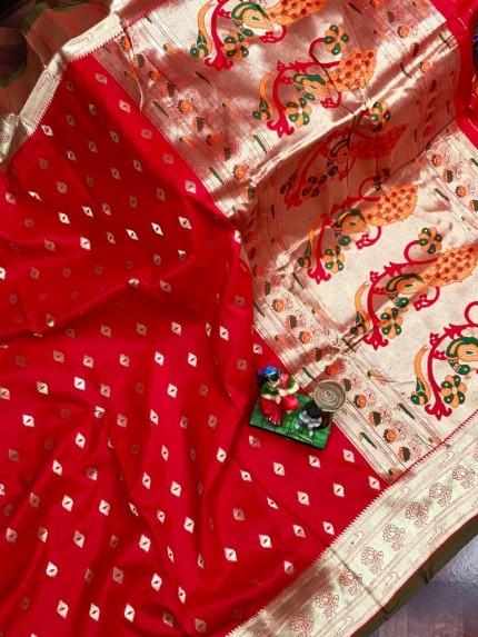 Super Soft Paithani Lichi Silk with Water Gold Zari Weaving Full Butti - gnp0108834