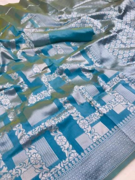 Lichi Silk Silver checks Pattern saree in blue