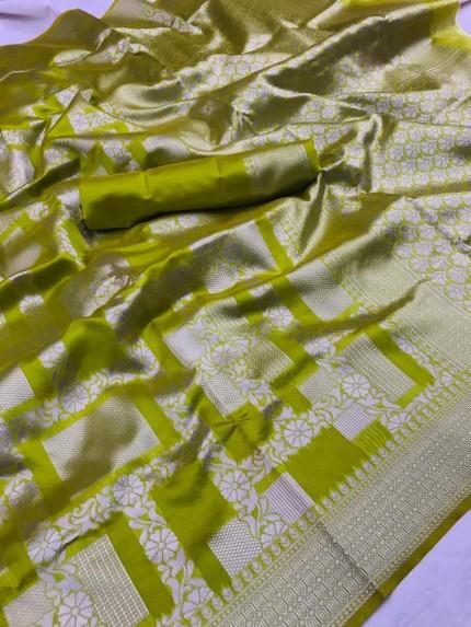 Lichi Silk Silver checks Pattern saree