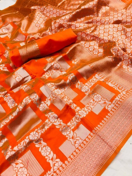 New superb Lichi Silk Silver checks Pattern saree in Orange