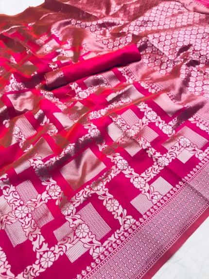 Lichi Silk Silver checks Pattern saree in Pink