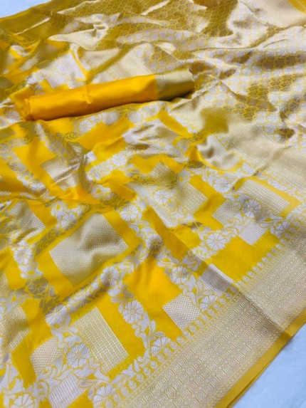Lichi Silk Silver checks Pattern saree in yellow