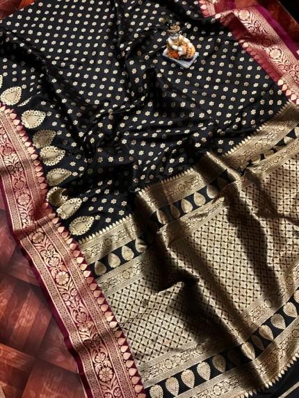 Superior Black rich banarasi lichi silk saree