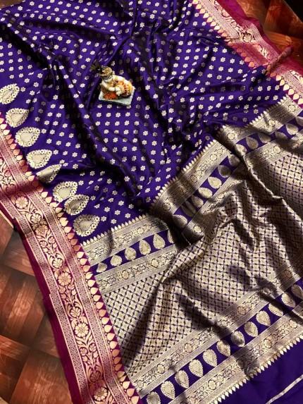 Superior Blue rich banarasi lichi silk saree