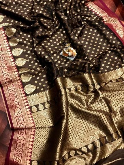 Brown rich banarasi lichi silk saree