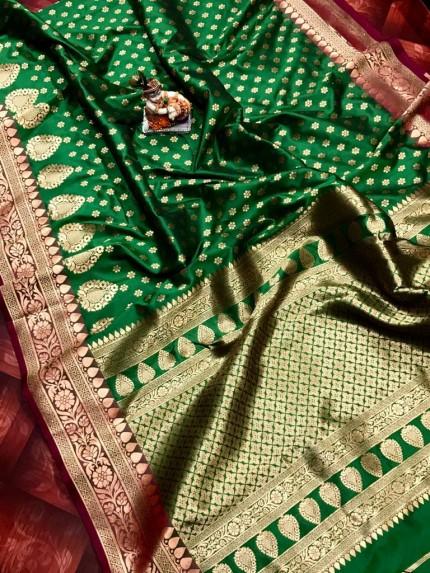 Superior Green rich banarasi lichi silk saree