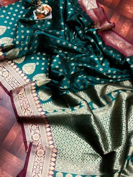 Green rich banarasi lichi silk saree