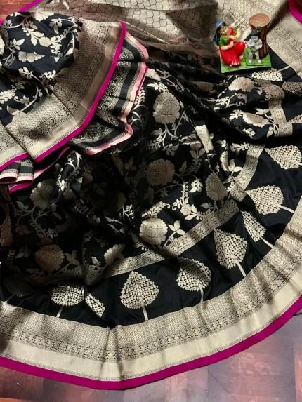Superior Soft Banarasi Lichi Silk Saree in Black