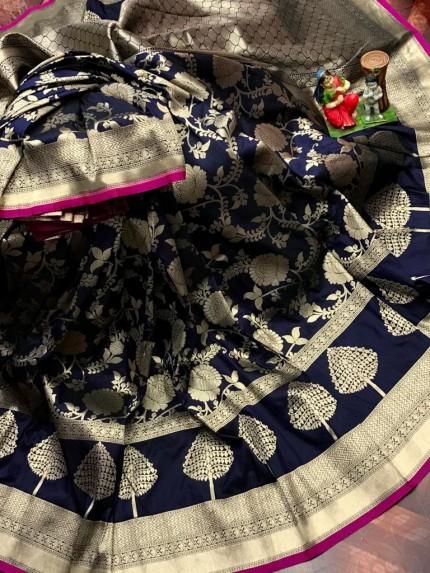 Superior Soft Banarasi Lichi Silk Saree in Blue