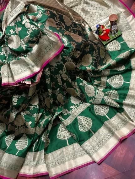 Superior Soft Banarasi Lichi Silk Saree in Green