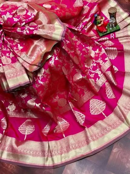 Superior Soft Banarasi Lichi Silk Saree in Pink