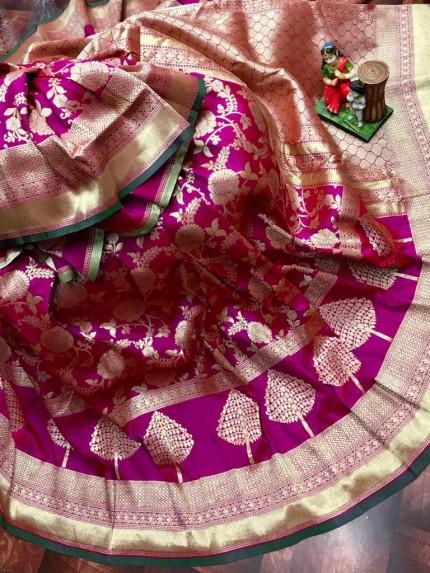 Superior Soft Banarasi Lichi Silk Saree in Purple