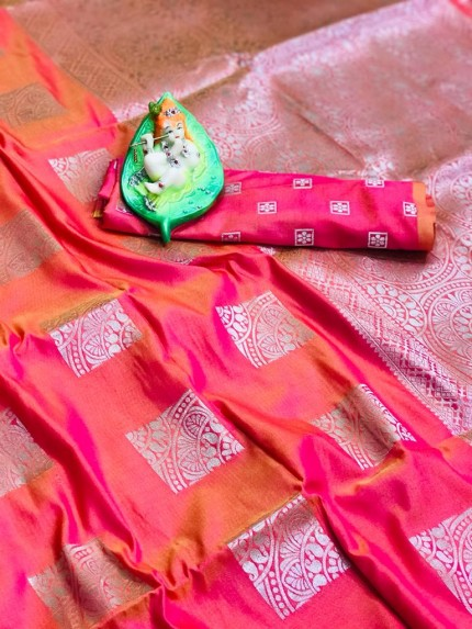 Tantalizing Gorgeous Peach Lichi silk saree at grabandpack