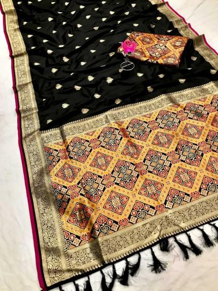 Women's Traditional Black Patola weaving saree