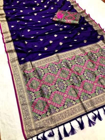 Women's Traditional Blue Patola weaving saree