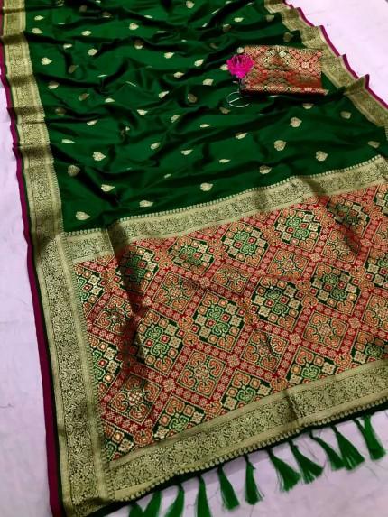 Women's Traditional Green Patola weaving saree