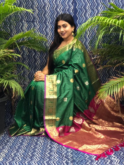 Traditional Kanchipuram silk saree in Green grabandpack