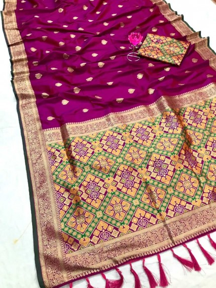Women's Traditional Pink Patola weaving saree