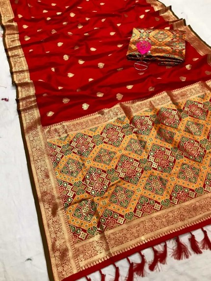 Women's Traditional Red Patola weaving saree