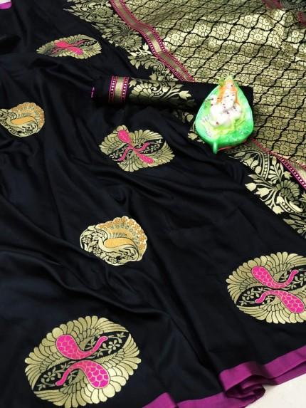 Trendy Attractive Black Lichi silk saree grabandpack