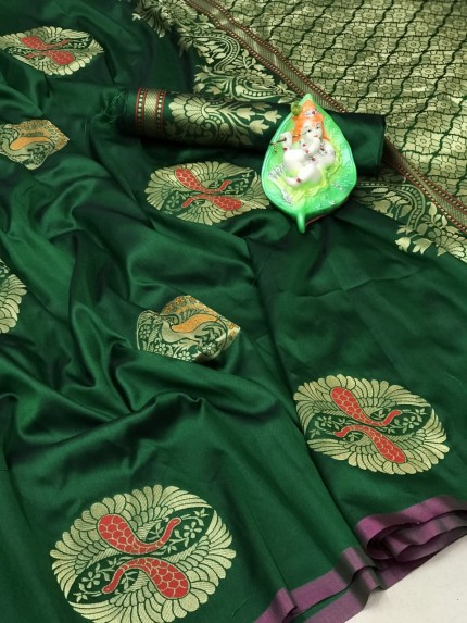 Trendy Attractive Green Lichi silk saree grabandpack
