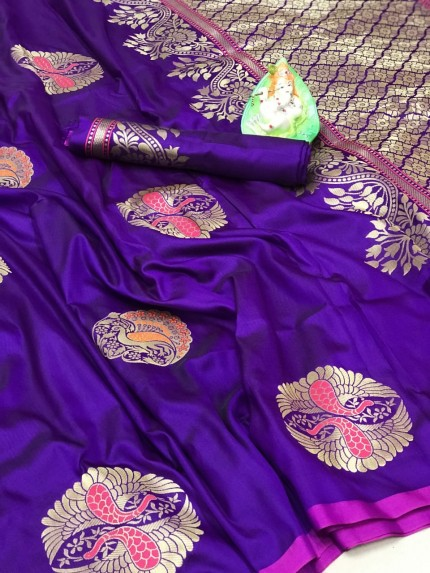 Trendy Attractive Purple Lichi silk saree grabandpack