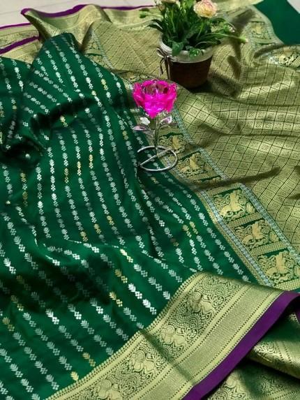 Women's Green Banarasi silk saree