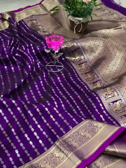 Trendy Women's Purple Banarasi silk saree