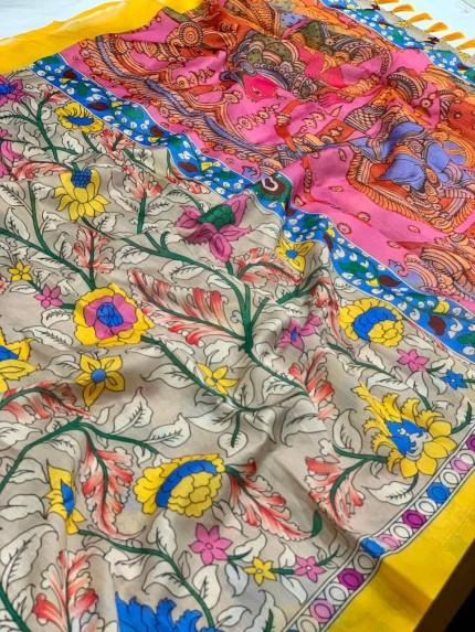 Ultra Modern Grey Soft Linen Printed saree gnp0108146