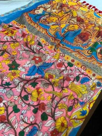 Ultra Modern Pink Soft Linen Printed saree