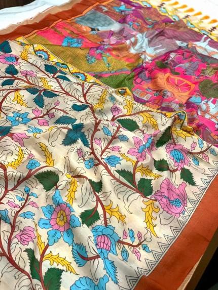 Ultra Modern White Soft Linen Printed saree gnp0108146