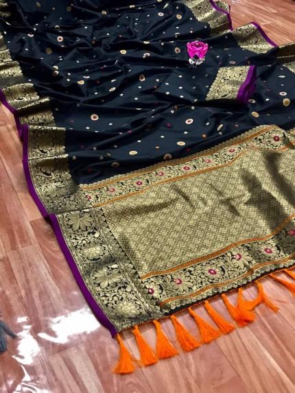 Unique Banarasi Silk Saree in Black