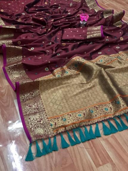 Unique Banarasi Silk Saree in Brown