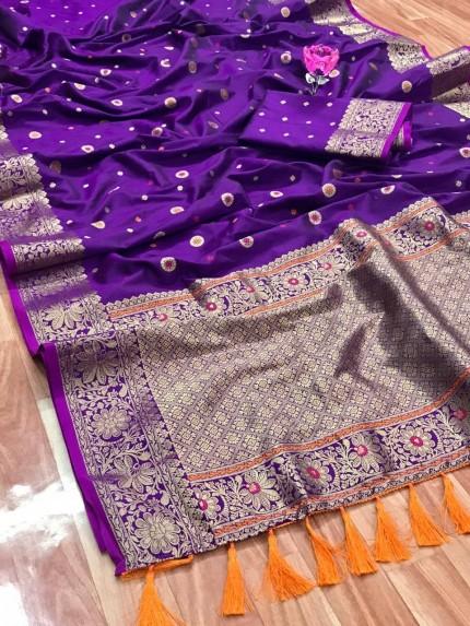 Unique Banarasi Silk Saree in purple