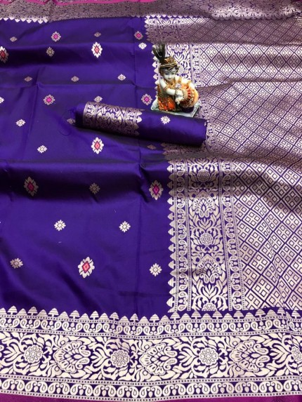 Violet Lichi Silk with Gold Zari Weaving Saree - gnp010021