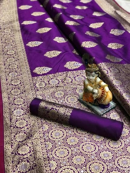Violet Super Soft Banarasi Silk Saree With Weaving Gold Jari - gnp009667