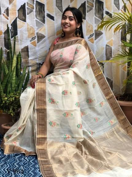 White Designer Party Wear Printed Saree