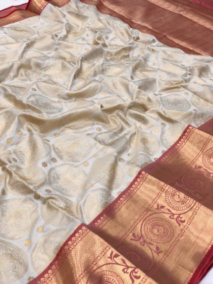 white Kanchipuram silk saree #saree