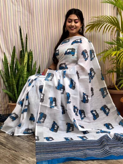 linen designer sarees