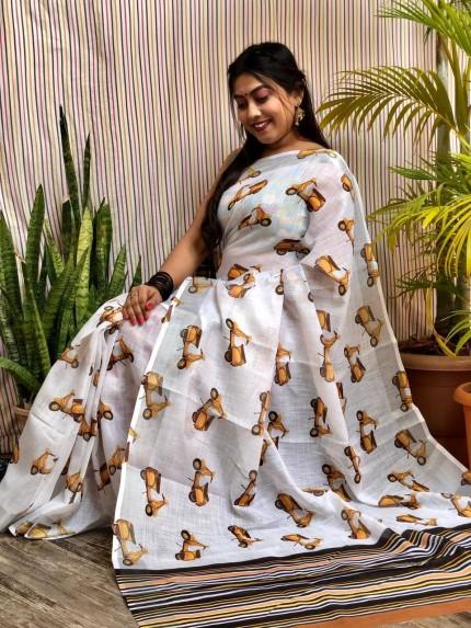 elegant fashion wear linen saree
