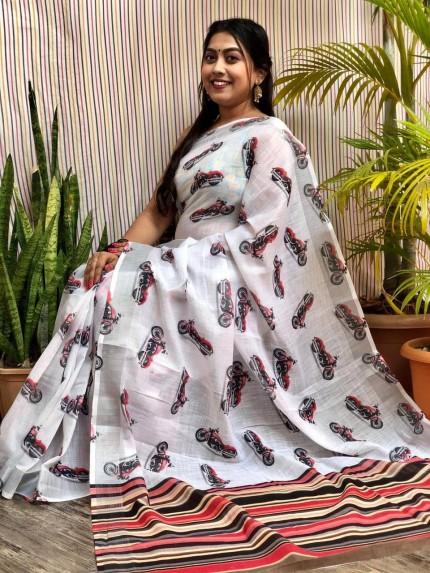linen digital print sarees online