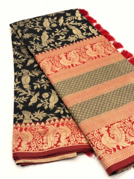 GrabandPack Black Kanjivaram Silk Saree