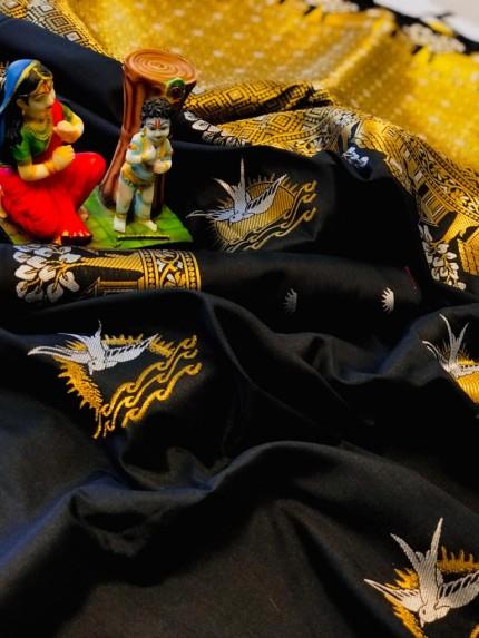 Black soft lichi silk Traditional saree