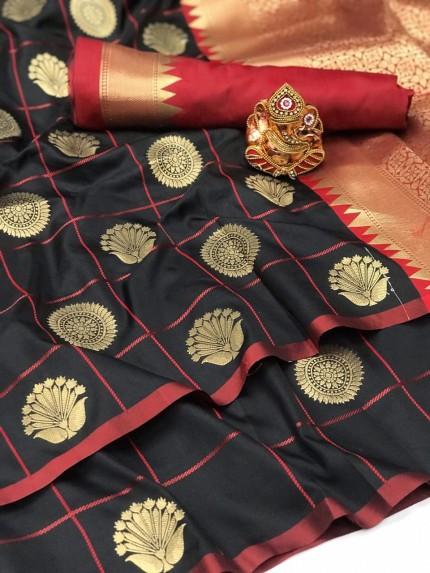 Black Soft silk checks woven saree